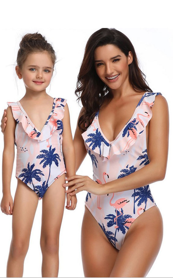 F4734  Swimsuit Mom and Daughter Monokini Bathing Suits