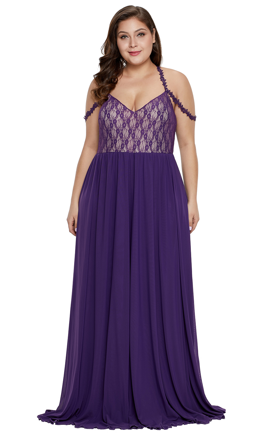 BY611063-8 Purple Lace Bodice Hollow-out Plus Size Maxi Dress