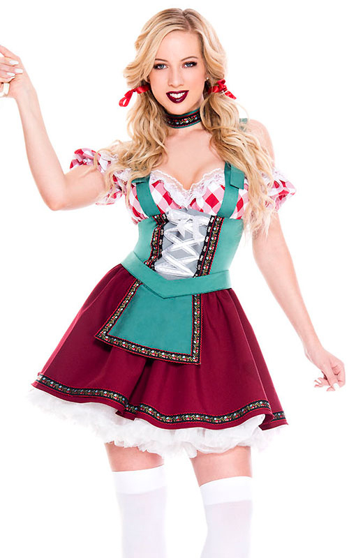 F1886 Womens Red Beer Maiden Dress Costume
