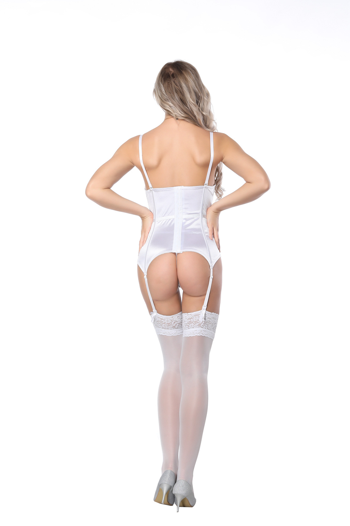 F3247-2  Bustier Sexy Corset Lingerie Girdle Lace Cincher with Garter Belt