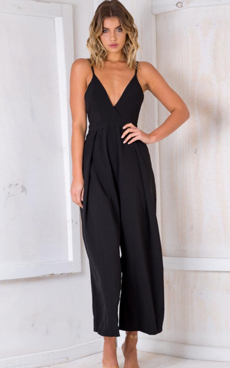 SZ60190-2 Sexy V Neck Backless Sleeveless Jumpsuit