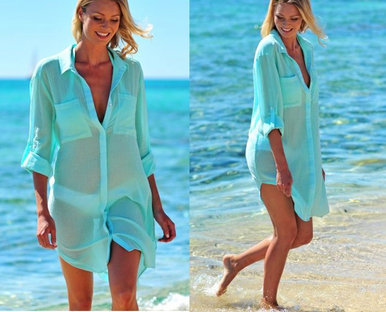 F4814-3 Beach Cover up Green Tunics