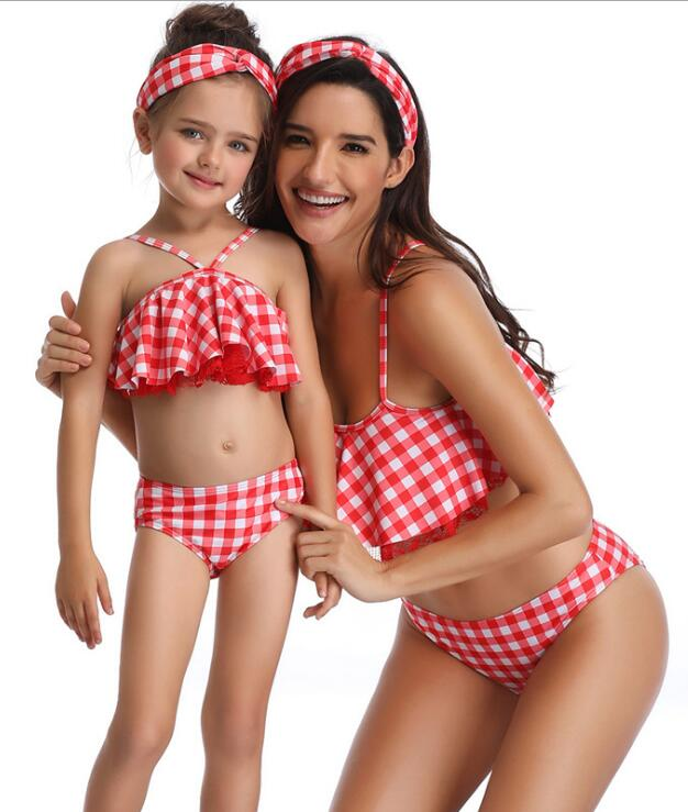 F4817 Mommy and Me PolkaDot Print Matching Swimsuit