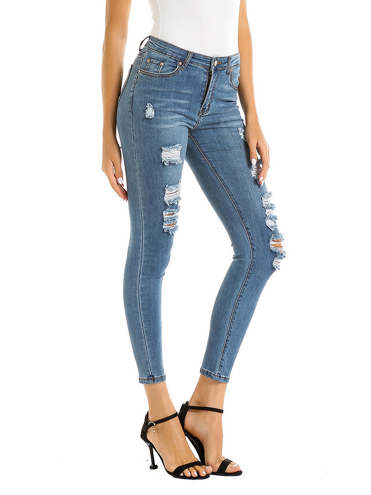 SZ60198 Women Casual Destroyed Ripped Distressed Skinny Denim Jeans