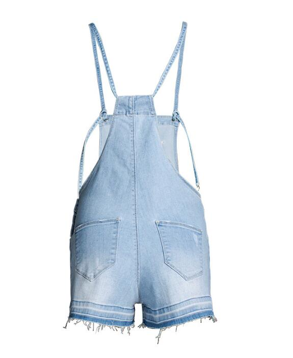 SZ60208 High Waisted Solid Denim Romper Shorts in Light Blue