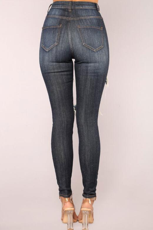 SZ60213 destroyed skinny jeans for women