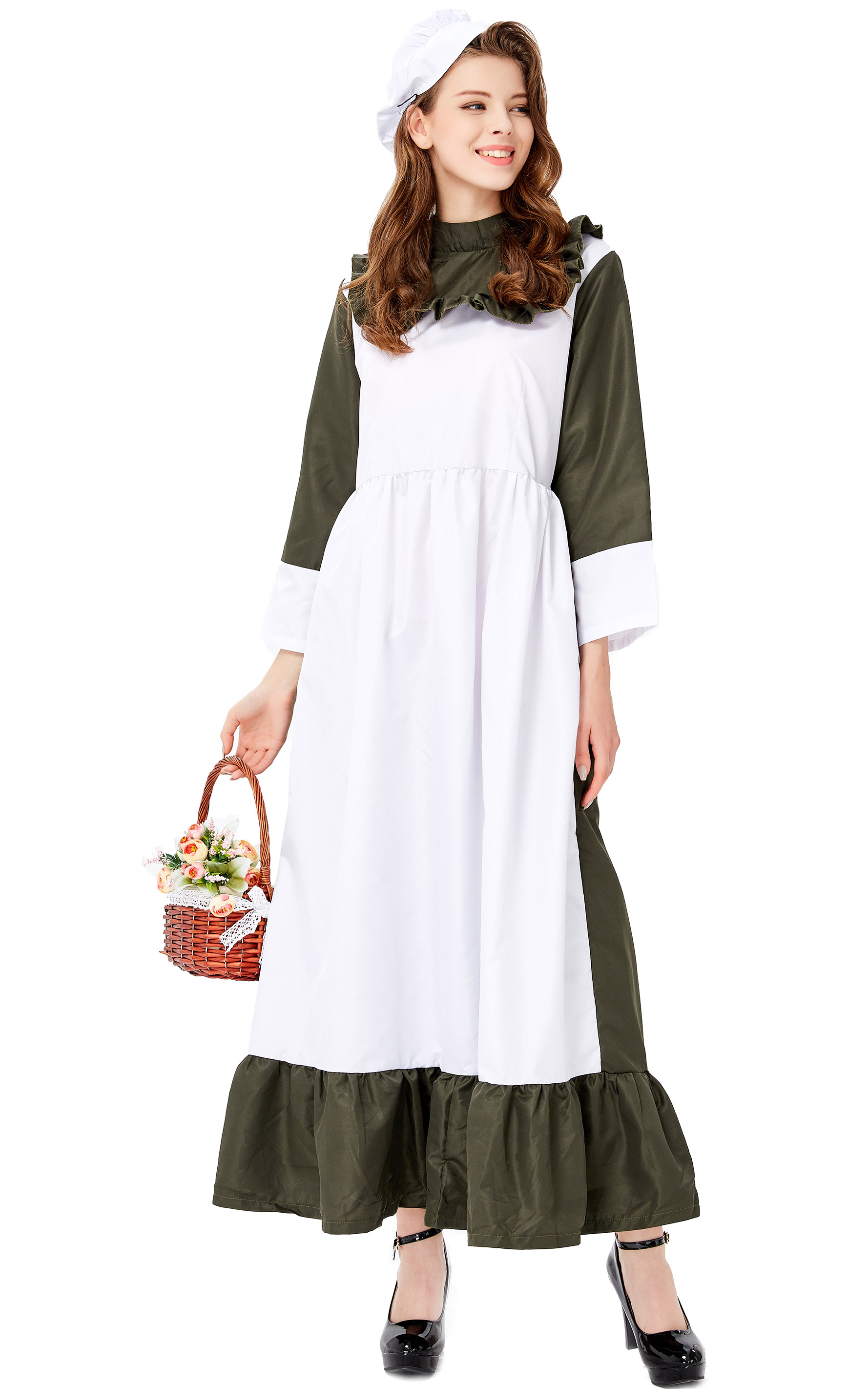F1935 Traditional Housemaid Long Dress Adult Cosplay Party Costume