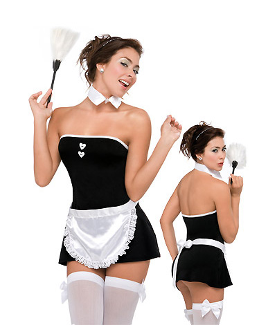 Strapless Mini Dress Maid Sexy Costume