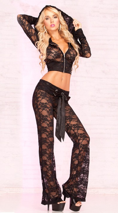 Cropped Lace Jacket with Hood and Lounge Pant