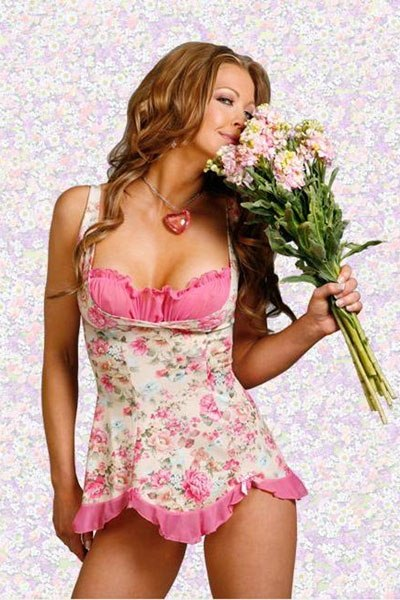 Pink and White Flowery Pattern Babydoll
