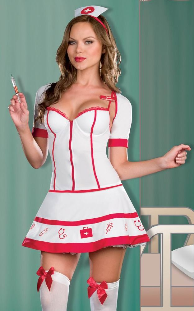 White nurse costumes with padded cups