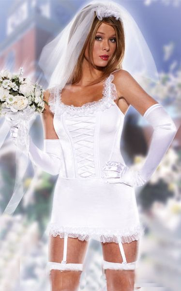Six Piece Sexy Blushing Bride Costume