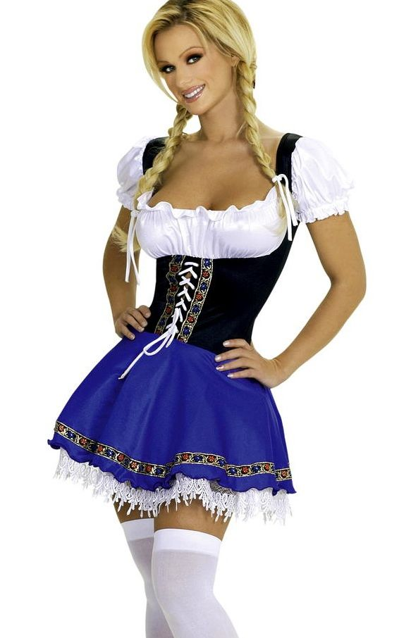 Peasant Blouse Top and Blue Serving Beer Wench Dress Costume