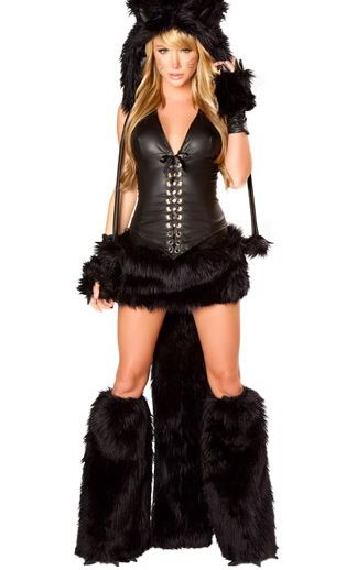 Deluxe Black Cat Corset Costume