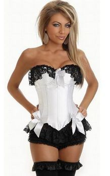 White corset with black guipure ruffle In Upper