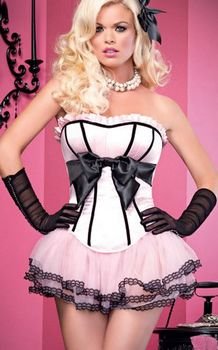 The Brooke Pink Satin Burlesque Corset