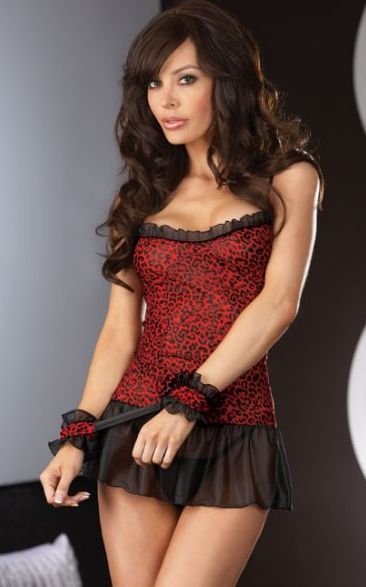 Leopard and Lace Red and Black Babydoll