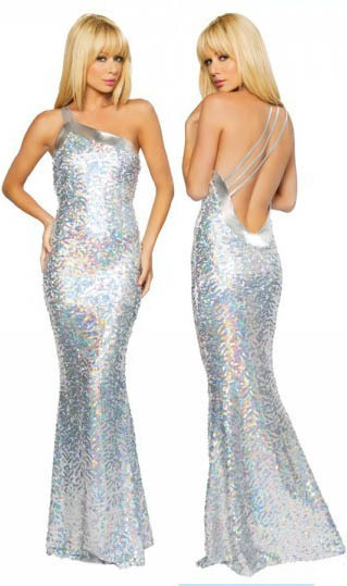 Silver Glitters Star Evening Gown