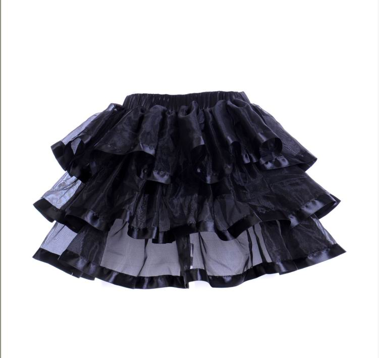 Black Tulle Mini Skirts With Layers and black Edging