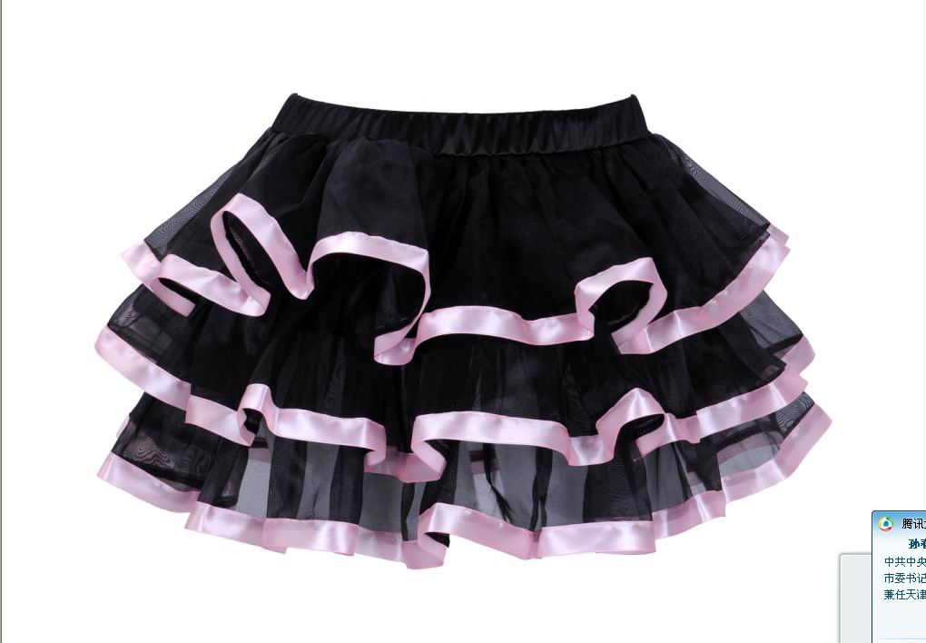 Black Tulle Mini Skirts With Layers and Pink Edging