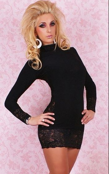 F2029-2 Sexy Long Sleeves High Neck Dress BLACK