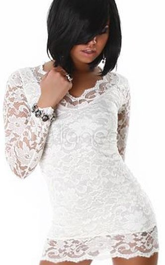 LACE MINI DRESS PENCIL FIT 2 SLEEVE WHITE