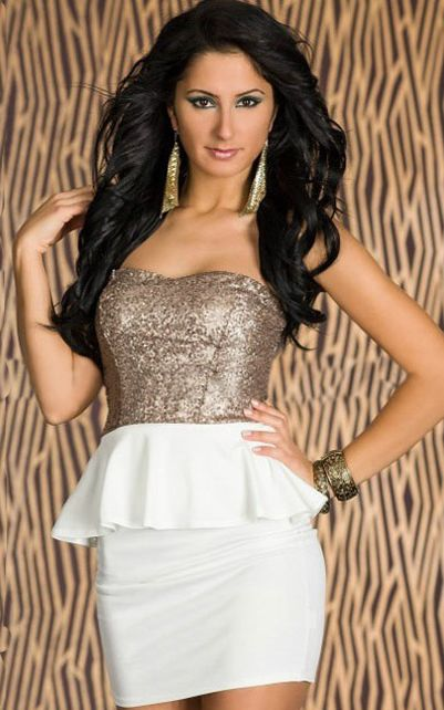 Gold Sequin Bandeau Dress With White Peplum Waist and Bodycon Mini Skirt