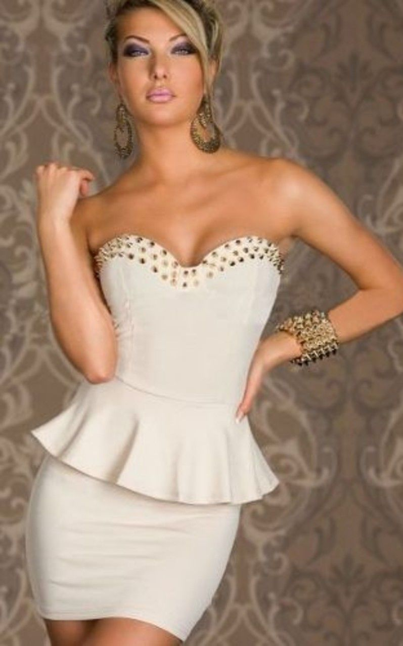 Gold Spiked Sweetheart Neckline Off Shoulder Peplum White