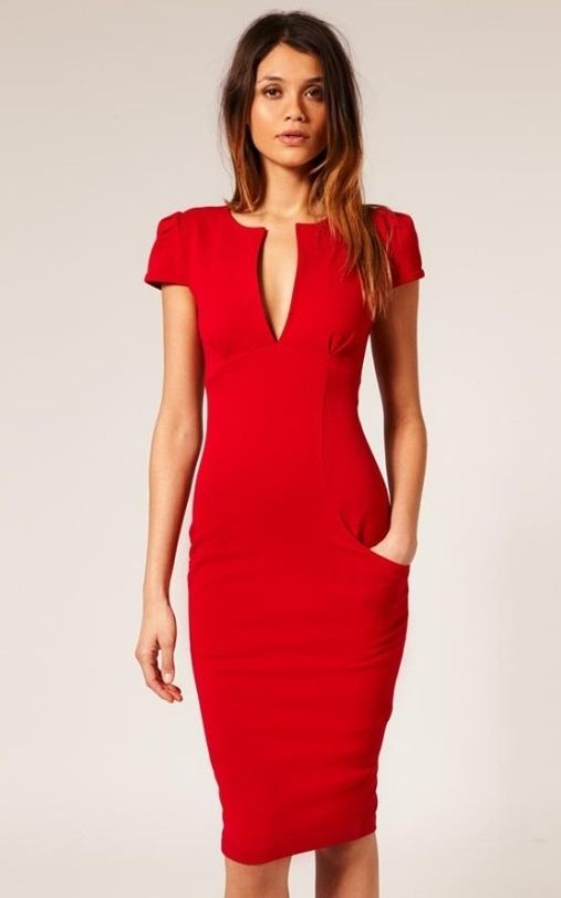 Red Ponti Pencil Dress