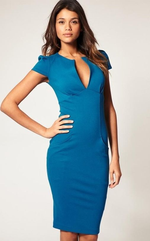 Blue Ponti Pencil Dress