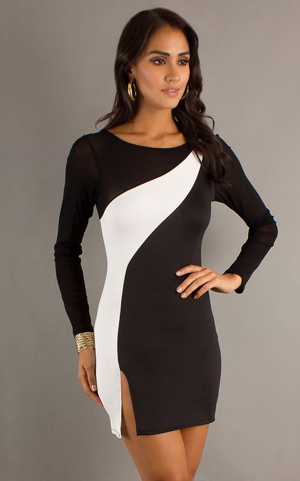 Short Two Tone Long Sleeve Dress