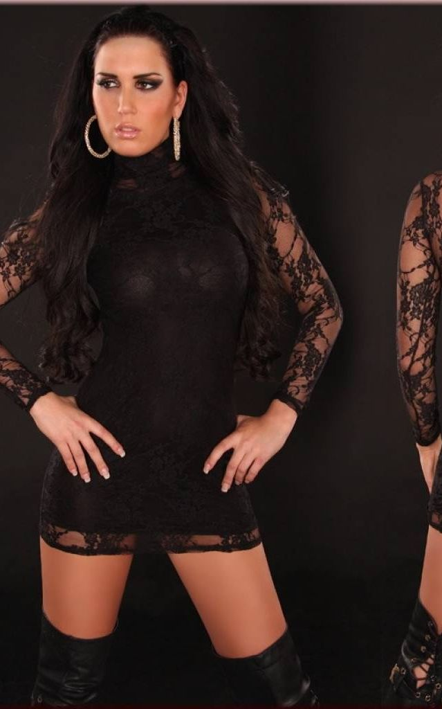 Sexy Lace-Minidress with turtleneck