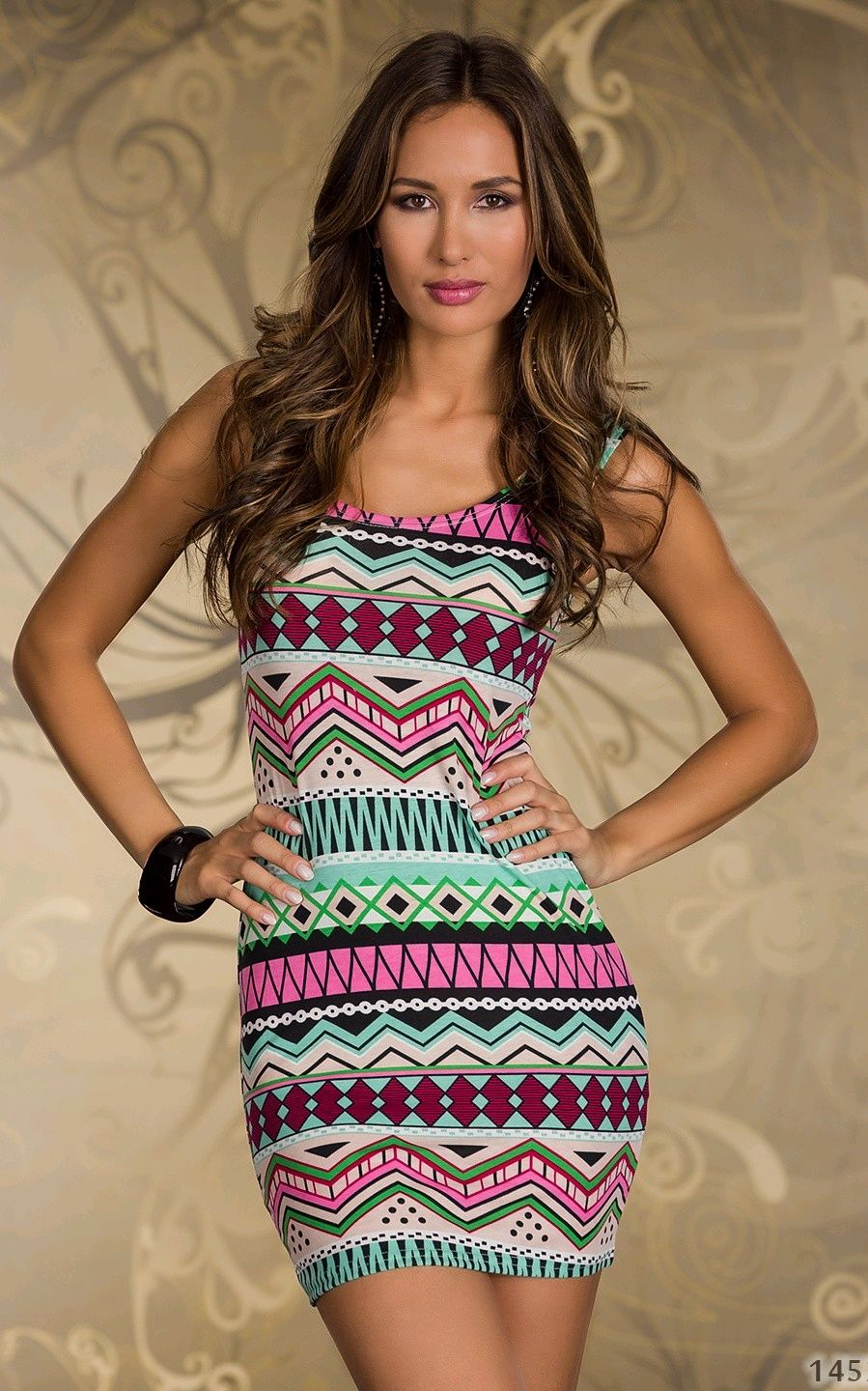 Pale Blue and Red Aztec Abstract Print Bodycon Dress