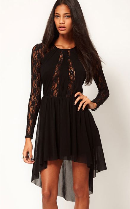 Black  Lace Insert Skater Dress With High Low Hem
