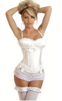 White Peasant Top Strapped Overbust Corset