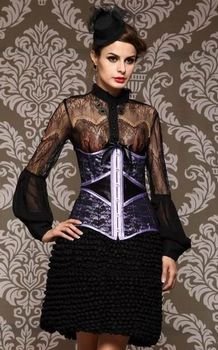 Luxury Black and Purple Under bust Corset