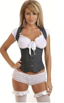 Black Halter Corset Open Breasts With Vertical Stripes
