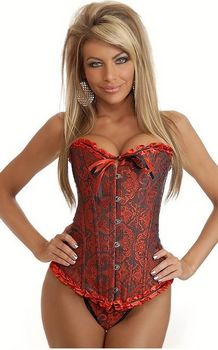 Classic Sweetheart Red and White Corset