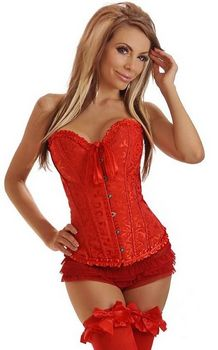 Red Floral Boned Strapless Overbust Corset with Lace up Back