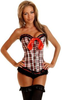 Black and red plaid overbust boned corset