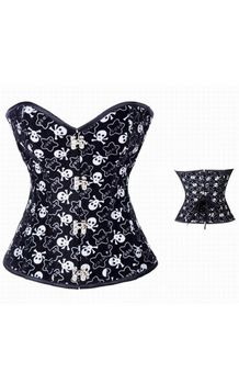 Skull and Star Print Steel Boned Corset