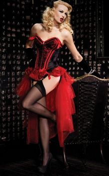 Black and Red Satin Valentina Corset