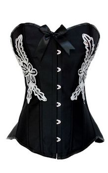 DARK ANGEL FLOWER BLACK-WHITE CORSET