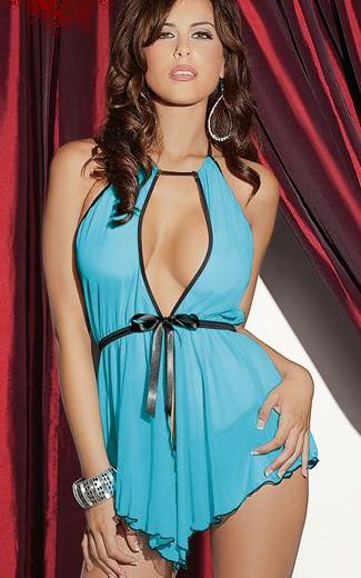 Mesh clip and ribbon tie front Chemise