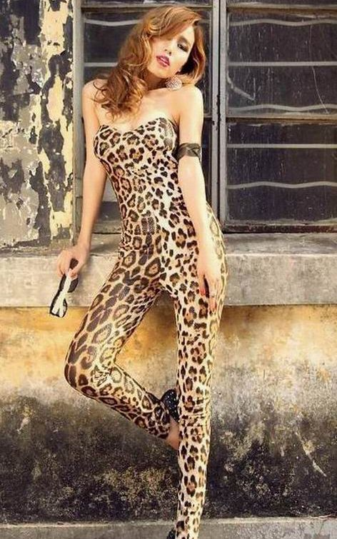 New Fashion Strapless Jumpsuits Leopard Sleeveless Jumpsuit