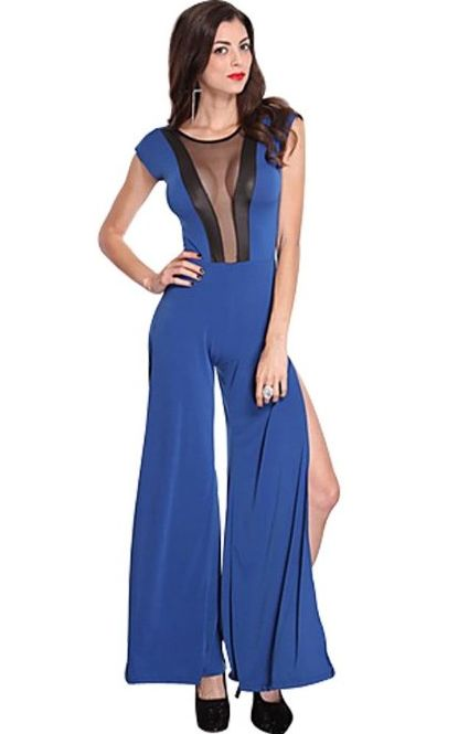 Mesh Cut Out Side Slits Jumper Outfit Blue