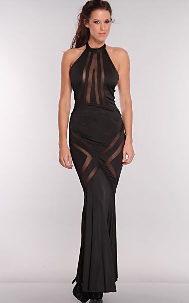 Black Mesh Cut Out Maxi Dress