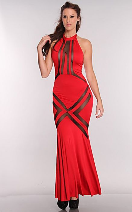 Red Black Mesh Cut Out Maxi Dress