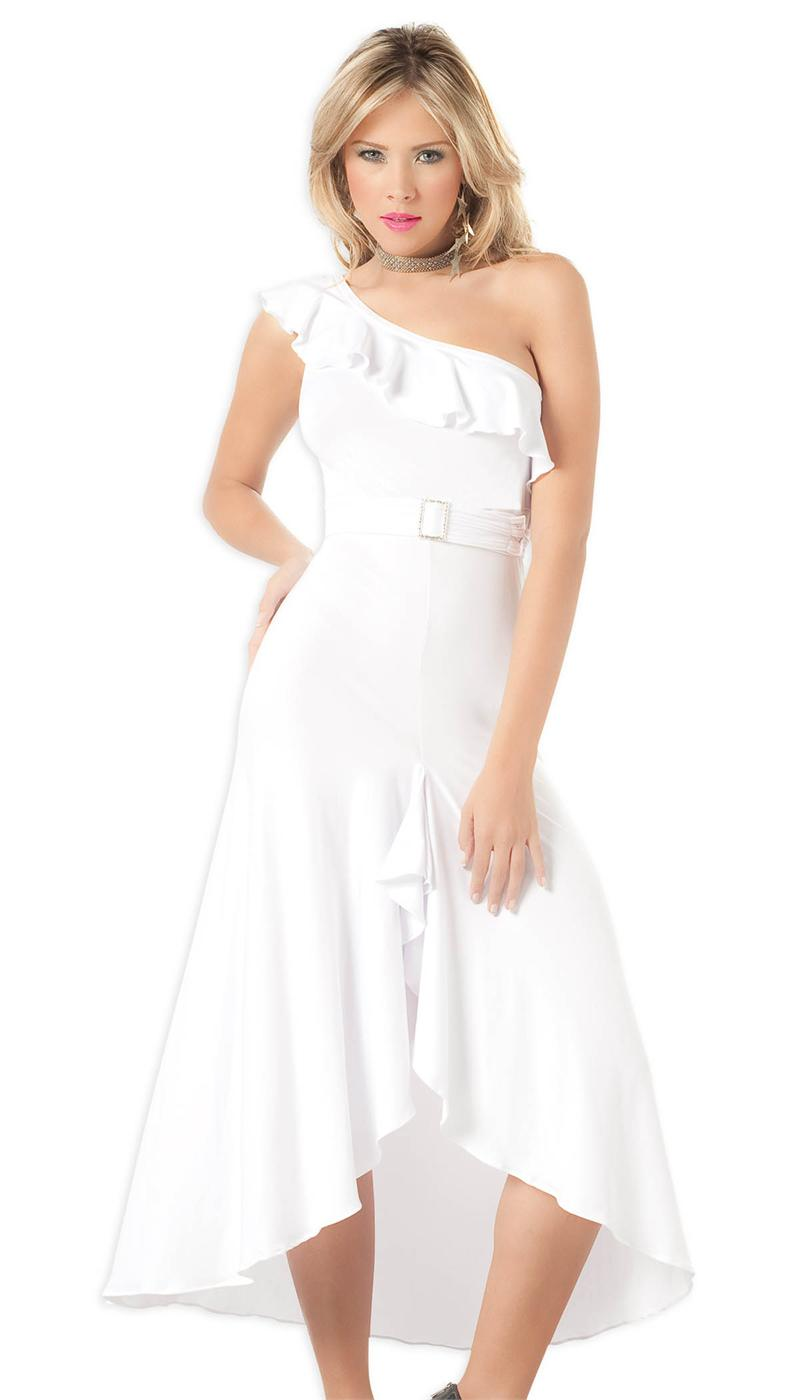 One-Shoulder White Casual Elegant Long Gown