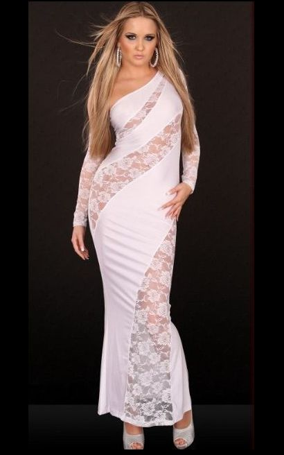Asymmetric Cut Out Gown White